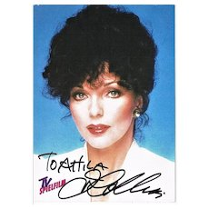 Joan Collins Autograph on Card. CoA