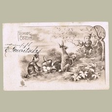 Happy Easter. Vintage Postcard with Dwarfs and Bunnies
