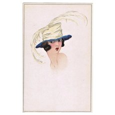 Art Deco Postcard. Lady with Hat. Lithograph.