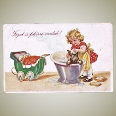 Girl with Puppy and Dolls. Vintage Postcard 1918