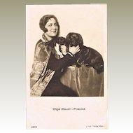 Singer Olga Bauer-Pilecka with her Dogs. Vintage Photo Postcard