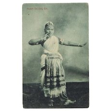 Dancing Girl from Ceylon. Vintage Postcard