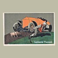 Advertising Postcard Continental Pneumatic with Car and Pig