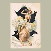 Happy New Year Postcard with Lady riding a Pig 1902