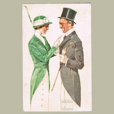 Art Deco Postcard by Ludwig Hohlwein with Couple 1913