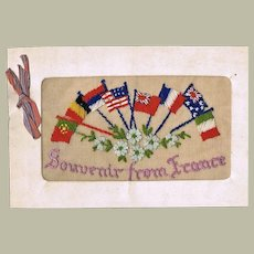 Stitched Greeting Card as Souvenir from France