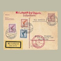 Zeppelin Mail via Sevilla 1930 South America Flight. Mixed Franking