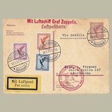 Zeppelin Mail via Sevilla 1930 South America Flight. Mixed Franking