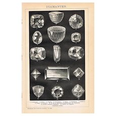 Diamonds Antique Lithograph from 1898