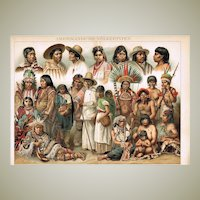 American Ethnic Groups: Old Chromo Lithograph. Decorative, 1898!