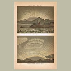 Polar Lights. Old Lithograph from 1900