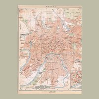Moscow Russia. Antique Map from 1898