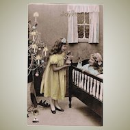 Vintage Postcard Girls with Doll and Xmas Tree