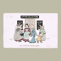 Pigs and Lottery. New Year's Postcard 1912
