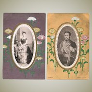 Japanese Emperor and Empress. 2 vintage Postcards