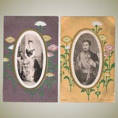 Japanese Emperor and Empress. 2 vintage Postcards