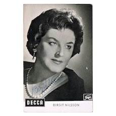 Birgit Nilsson Autograph. Early Decca Trading Card. COA