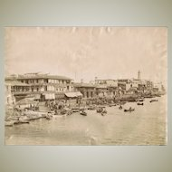 Antique Photo Port Said View from Sea c. 1880