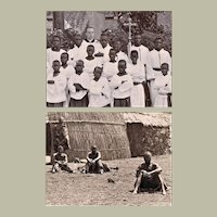 Two Antique Photos from Africa Missionary and Natives 1903