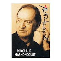 Nikolaus Harnoncourt Autograph. Famous Austrian Conductor.