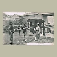 Chinese Vintage postcard with Sedan Chair