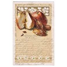 Embossed Art Nouveau Postcard with Apples and Dates 1904