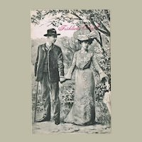 Vintage Easter Postcard with Couple taking a Stroll