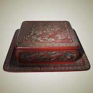 Antique Chinese Lacquer Box with Tray