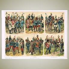 Cavalry: Old Chromo Lithograph. Decorative Graphic from 1898!