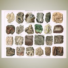 Gem Stones and Minerals Chromolithograph from 19th Century