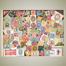 Antique Chromo  Lithograph with famous Stamps from 1898