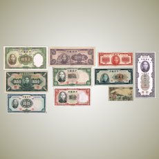 Old China Banknote Lot of 10 different