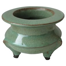 Antique Chinese Pottery Censer Craqueled Glaze