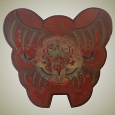 Chinese Red Lacquered Butterfly Box 12 Inches Decorative