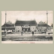 Chinese Temple in Singapore Postcard. Tangi Cancellation 1909