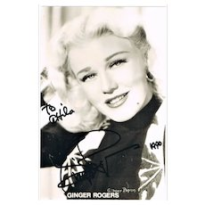Ginger Rogers Autograph. Hand-signed Photo. CoA