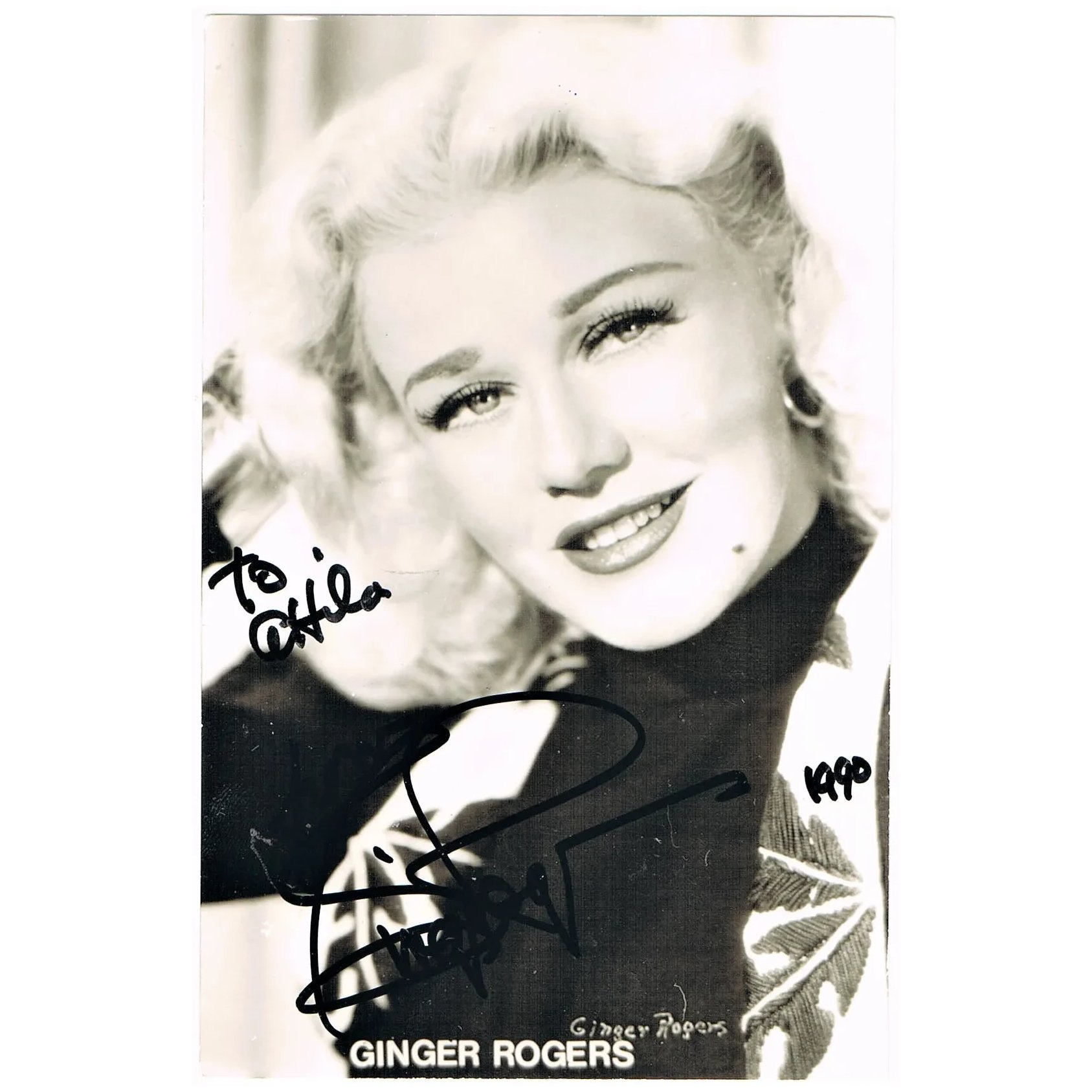 Ginger Rogers Autograph Hand Signed Photo Coa Collect At Curioshop Ruby Lane