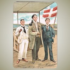 Decorative Postcard of 3 Sailors. Chromo Lithograph from 1899