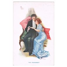 The Engagement Vintage Postcard