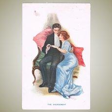 The Engagement Vintage Postcard