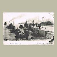 American Warf in Kobe. Japanese Vintage Postcard