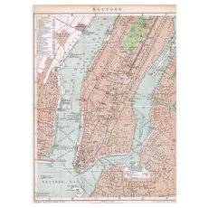 Two Antique Maps New York 1900