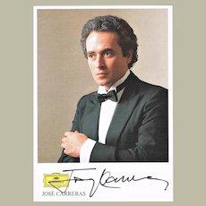 Jose Carreras Autograph on Discography Card . CoA
