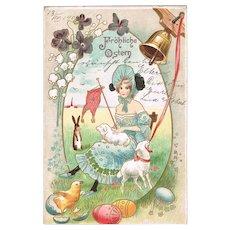 Art Nouveau Easter Vintage Postcard 1907