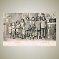 Chinese Vintage Postcard with Street Children