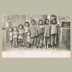 Chinese Vintage Postcard with Street Children