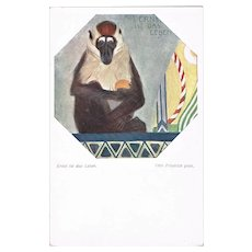 Art Deco Postcard with Baboon. Austrian Art