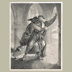 Antique Engraving with Scene in a Cathedral