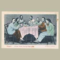 Chinese vintage Postcard with Finger Gamers