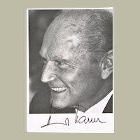 Heinrich Harrer Autograph. Signed Promo Card
